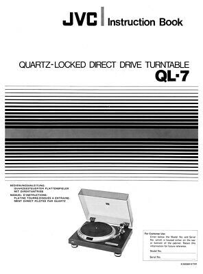 JVC QL-7 Turntable Owners Instruction Manual Reprint