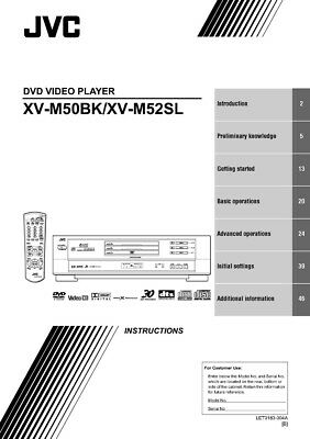 JVC XV-M50BK XV-M52SL DVD Player Owners Instruction Manual Reprint