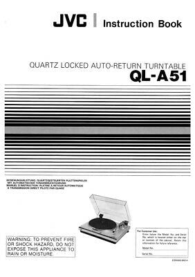 JVC QL-A51 Turntable Owners Instruction Manual Reprint