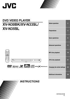 JVC XV-N30BK XV-N33SL XV-N35SL DVD Player Owners Instruction Manual Reprint