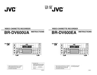 JVC BR-DV600UA BR-DV600EA VCR Owners Instruction Manual Reprint