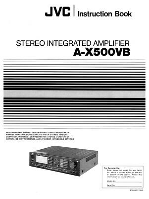 JVC A-X500VB Amplifier Owners Instruction Manual Reprint