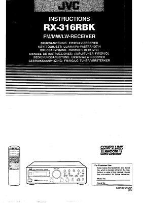 JVC RX-316RBK Receiver Owners Instruction Manual Reprint