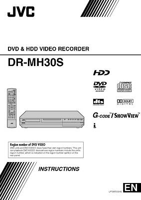JVC DR-MH30S DVD Recorder Owners Instruction Manual Reprint