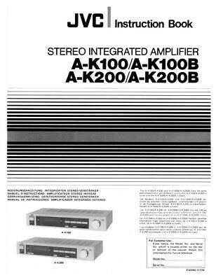 JVC A-K100 A-K100B A-K200 A-K200B Amplifier Owners Instruction Manual Reprint