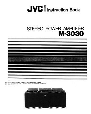 JVC M-3030 Amplifier Owners Instruction Manual Reprint