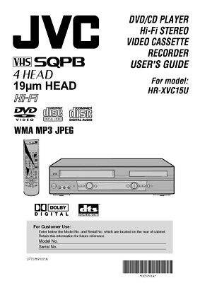 JVC HR-XVC15U VCR Owners Instruction Manual Reprint