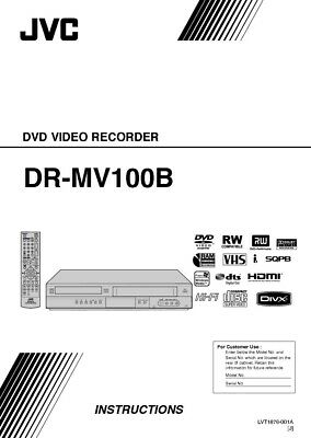 JVC DR-MV100B DVD Recorder Owners Instruction Manual Reprint