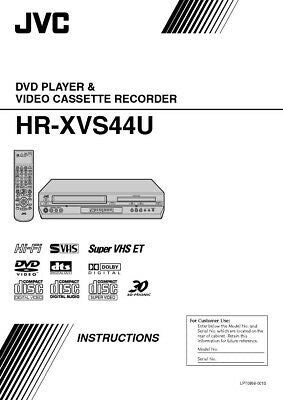 JVC HR-XVS44U VCR Owners Instruction Manual Reprint