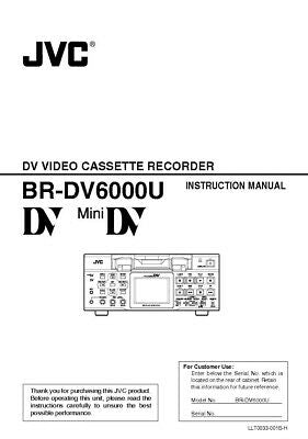 JVC BR-DV6000 VCR Owners Instruction Manual Reprint