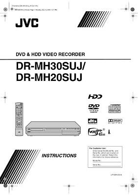JVC DR-MH30SUJ DVD Recorder Owners Instruction Manual Reprint