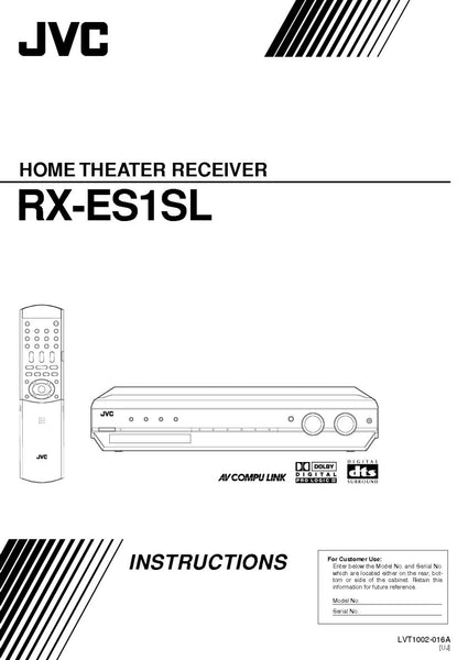 JVC RX-ES1SL Home Theater System Owners Instruction Manual Reprint