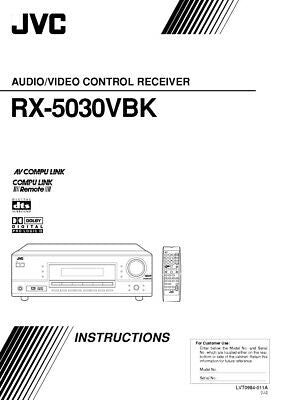JVC RX-5030VBK Receiver Owners Instruction Manual Reprint