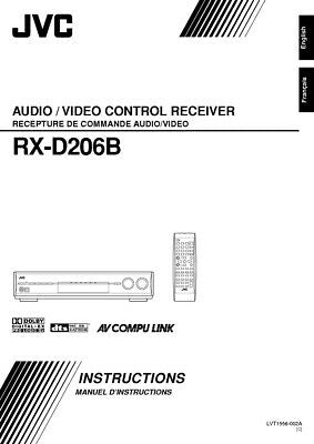 JVC RX-D206B Receiver Owners Instruction Manual Reprint