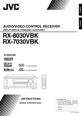 JVC RX-7030VBK RX-7030VBK Receiver Owners Instruction Manual Reprint