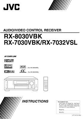 JVC RX-7030VBK RX-7032VSL RX-8030VBK Receiver Owners Instruction Manual Reprint
