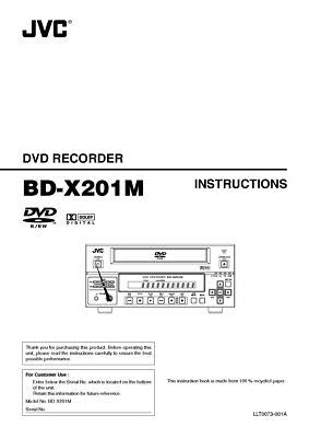 JVC BD-X201M DVD Recorder Owners Instruction Manual Reprint