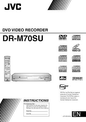 JVC DR-M70SU DVD Recorder Owners Instruction Manual Reprint