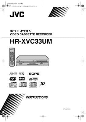 JVC HR-XVC33UM VCR Owners Instruction Manual Reprint