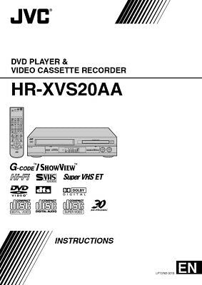JVC HR-XVS20AA VCR Owners Instruction Manual Reprint