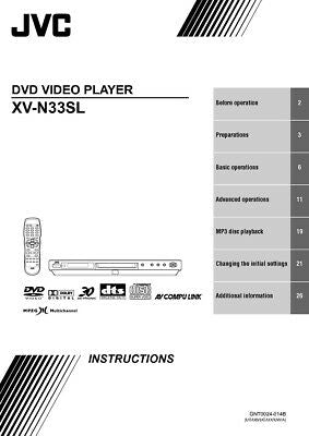 JVC XV-N33SL DVD Player Owners Instruction Manual Reprint