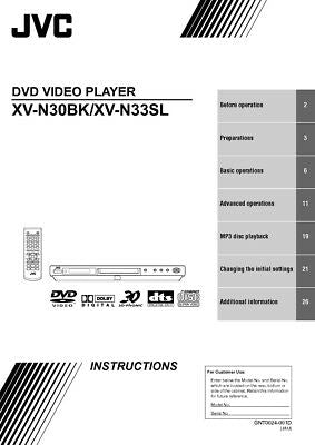 JVC XV-N30BK XV-N33SL DVD Player Owners Instruction Manual Reprint