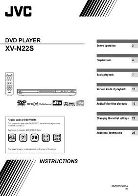 JVC XV-N22S DVD Player Owners Instruction Manual Reprint