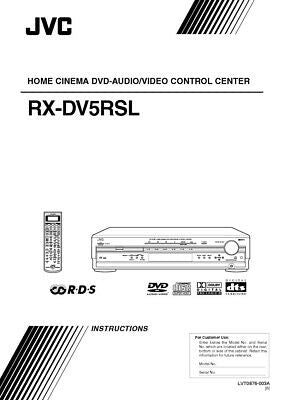 JVC RX-DV5RSL Receiver Owners Instruction Manual Reprint