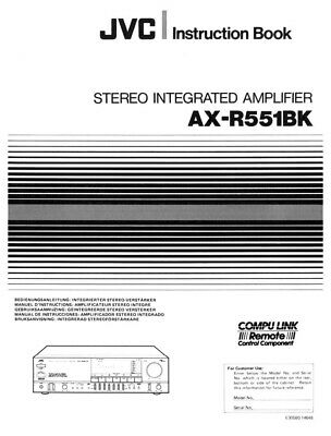 JVC AX-R551BK Amplifier Owners Instruction Manual Reprint