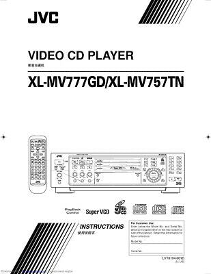 JVC XL-MV757TN XL-MV777GD Video CD Player Owners Instruction Manual Reprint