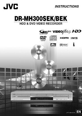 JVC DR-MH300BEK DR-MH300SEK DVD Recorder Owners Instruction Manual Reprint