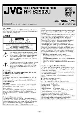 JVC HR-S2902U VCR Owners Instruction Manual Reprint