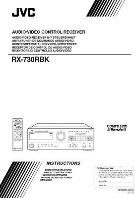 JVC RX-730RBK Receiver Owners Instruction Manual Reprint