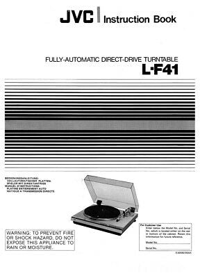 JVC L-F41 Turntable Owners Instruction Manual Reprint
