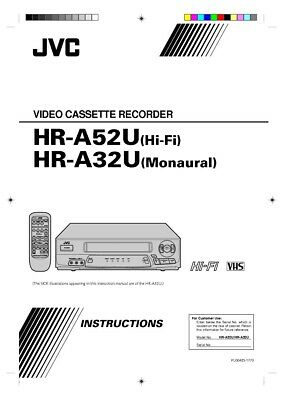 JVC HR-A32U HR-A52U VCR Owners Instruction Manual Reprint