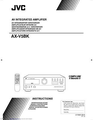 JVC AX-V5BK Amplifier Owners Instruction Manual Reprint