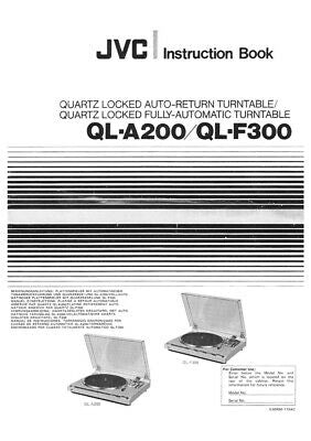JVC QL-A200 QL-F300 Turntable Owners Instruction Manual Reprint
