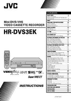 JVC HR-DVS3EK VCR Owners Instruction Manual Reprint