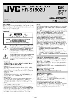 JVC HR-S1902U VCR Owners Instruction Manual Reprint