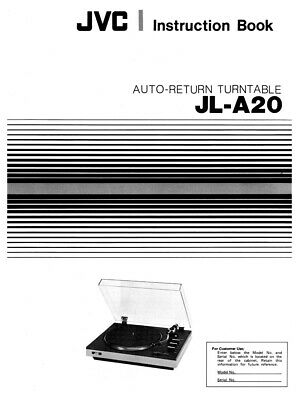 JVC JL-A20 Turntable Owners Instruction Manual Reprint