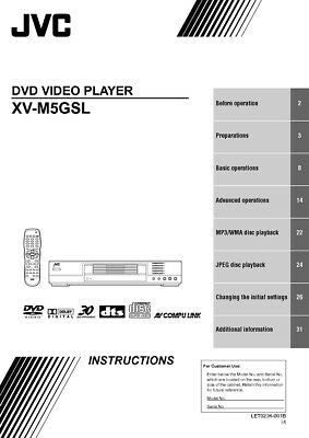 JVC XV-M5GSL DVD Player Owners Instruction Manual Reprint