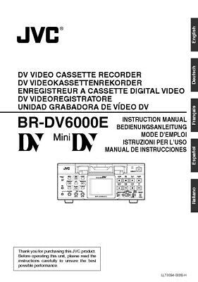 JVC BR-DV6000E VCR Owners Instruction Manual Reprint