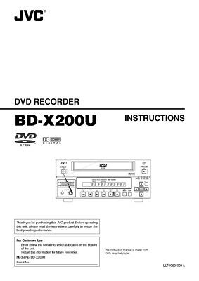 JVC BD-X200U DVD Recorder Owners Instruction Manual Reprint