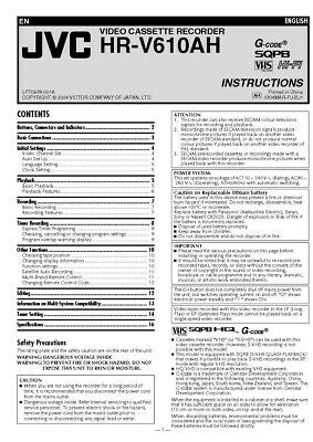 JVC HR-V610AH VCR Owners Instruction Manual Reprint