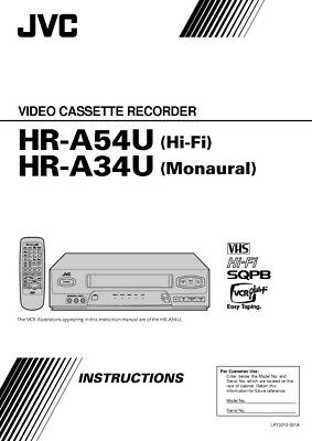JVC HR-A34U HR-A54U VCR Owners Instruction Manual Reprint