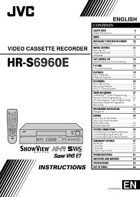 JVC HR-S6960EX VCR Owners Instruction Manual Reprint