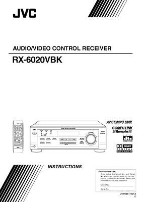 JVC RX-6020VBK Receiver Owners Instruction Manual Reprint