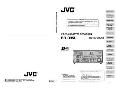 JVC BR-D95U VCR Owners Instruction Manual Reprint