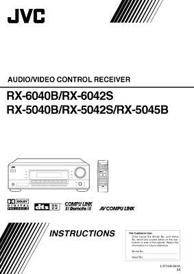 JVC RX-5040B RX-5042S RX-5045B RX-6040B RX-6042S Receiver Owners Manual