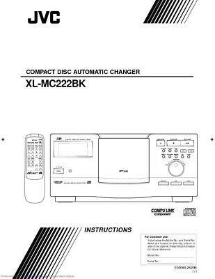 JVC XL-MC222BK CD Changer Owners Instruction Manual Reprint